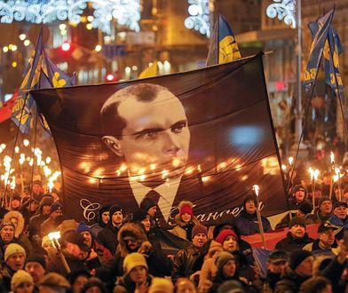 Ukraina. Marsz w Kijowie z okazji 111. rocznicy urodzin Stepana Bandery