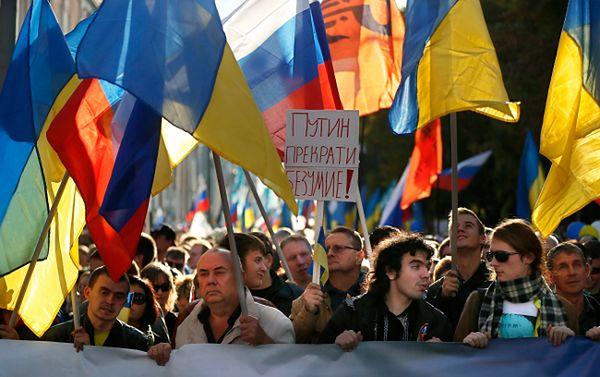 Antywojenny marsz w Moskwie