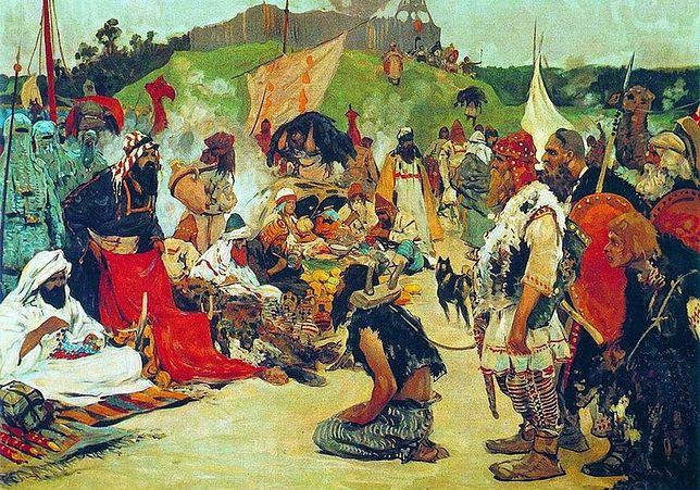 Obraz Siergieja Wasiljewicza Iwanowa przedstawiający handel niewolnikami w obozie Słowian wschodnich