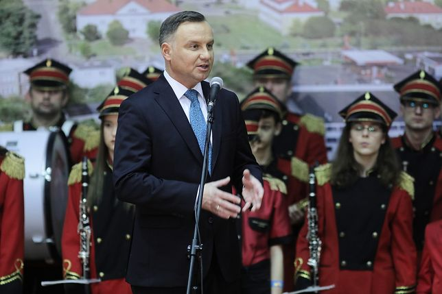 Prezydent Andrzej Duda przemawia w Kolnie (woj. podlaskie)