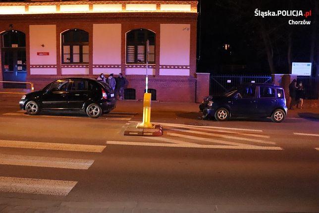 Śląskie. 19-letni kierowca w Chorzowie nie zauważył, że jadący przed nim samochód zatrzymał się w celu ustąpienia pierwszeństwa pieszej.