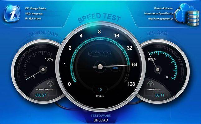 Orange Światłowód jest w stanie zapewnić wysyłanie plików z szybkością 60 Mb/s – dość by myśleć o domowej chmurze (źródło: speedtest.pl)