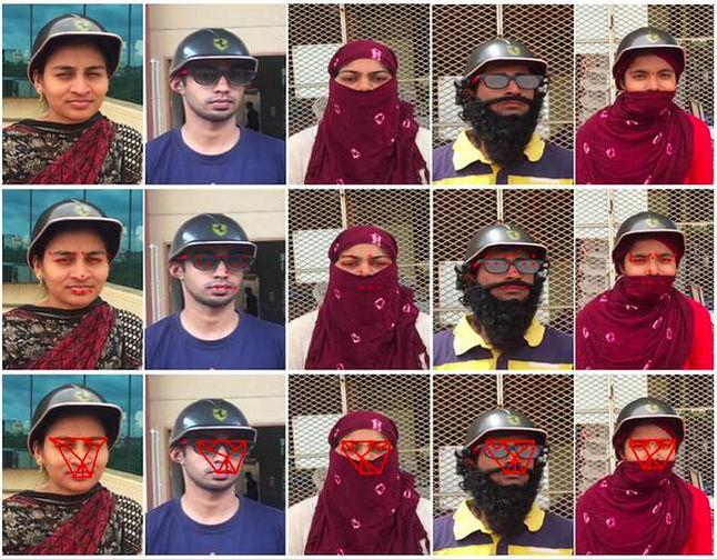 Zdjęcia osób, na podstawie których trenowano sieć neuronową: w ostatnim rzędzie utworzona struktura gwiaździsta