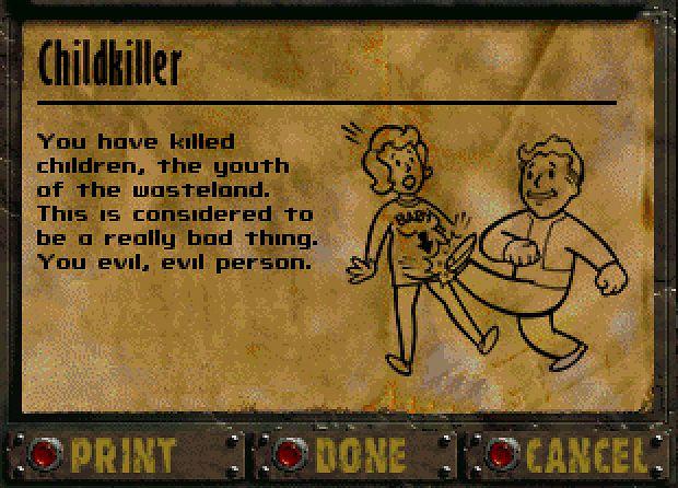 Ten rysunek nigdy nie trafił do oficjalnej wersji pierwszych Falloutów – sam grafik był zawstydzony tym, co narysował