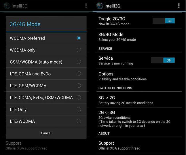 Intelli3G: zarządzanie dopuszczalnymi trybami komunikacji komórkowej