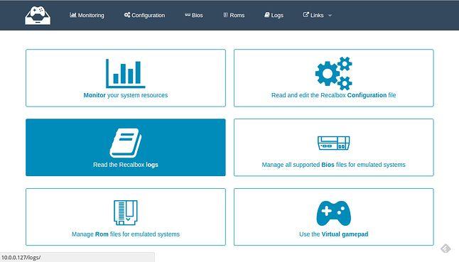 Panel webowy Recalboxa. Dostęp do wirtualnych padów bezpośrednio na porcie 8080