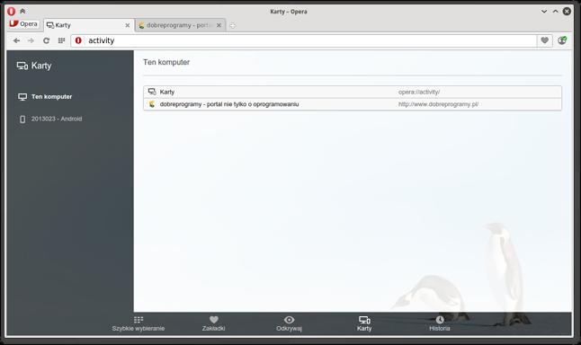Opera 29 zsynchronizowana z przeglądarką na urządzeniu mobilnym
