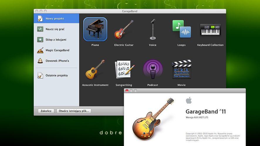 GarageBand - okno startowe programu