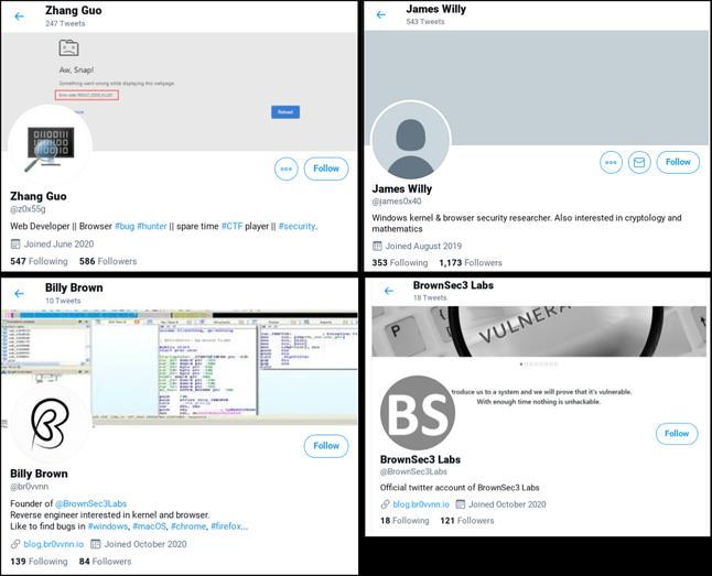 Fałszywe profile na Twitterze są częścią działań atakujących, źródło: Google.