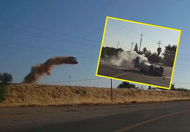 Sceny jak z filmu akcji. Auto wyleciało w powietrze