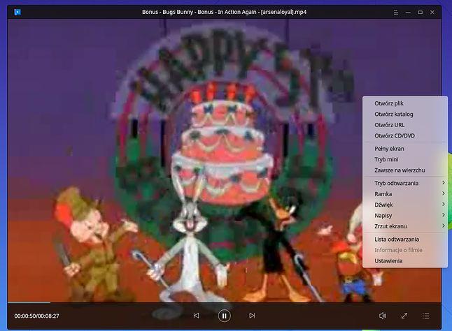 Odtwarzacz wideo ze starą kreskówką z Klólikiem, strumieniowaną prosto z Internet Archive
