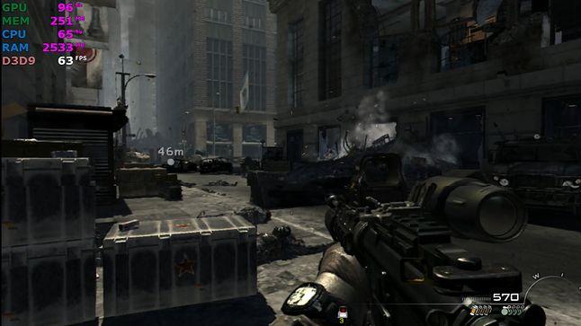 Call of Duty Modern Warfare 3, 1080p, detale normalne, 30-60 FPS.