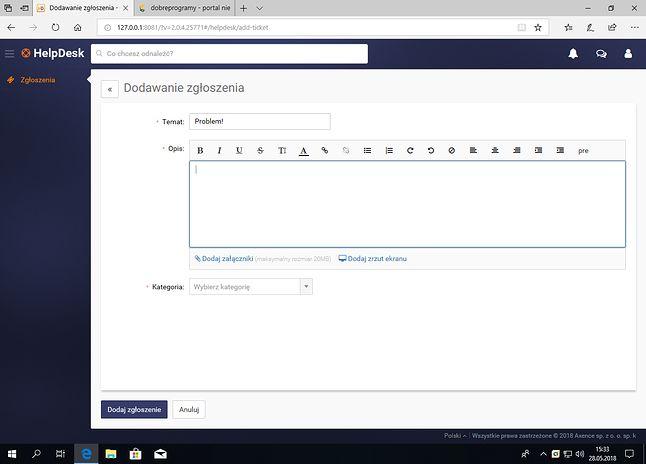 By zgłosić błąd lub problem administratorowi, na komputerze użytkownika wystarczy skorzystać z przeglądarki.