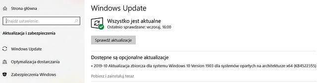 Problematyczna aktualizacja KB4522355 w Windows Update.
