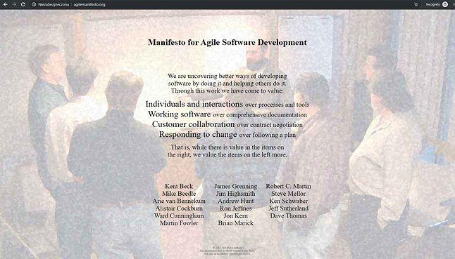 Manifest Agile (fot. agilemanifesto.org)