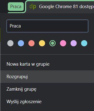 Opcje grup pozwalają edytować między innymi nazwy i kolory.
