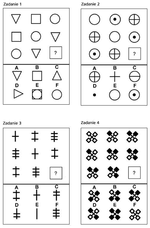 Zadania nr 1, 2, 3 i 4 - wybierz brakujący obrazek