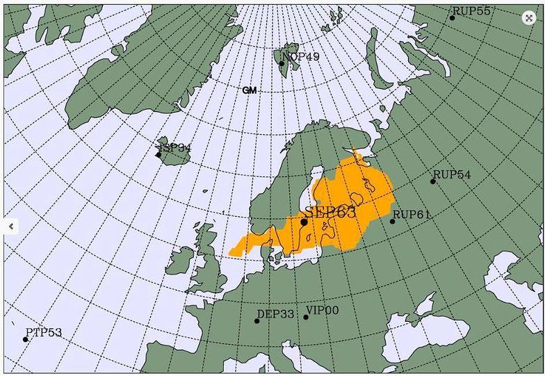Mapka pokazuje potencjalne źródło pochodzenia izotopów promieniotwórczych