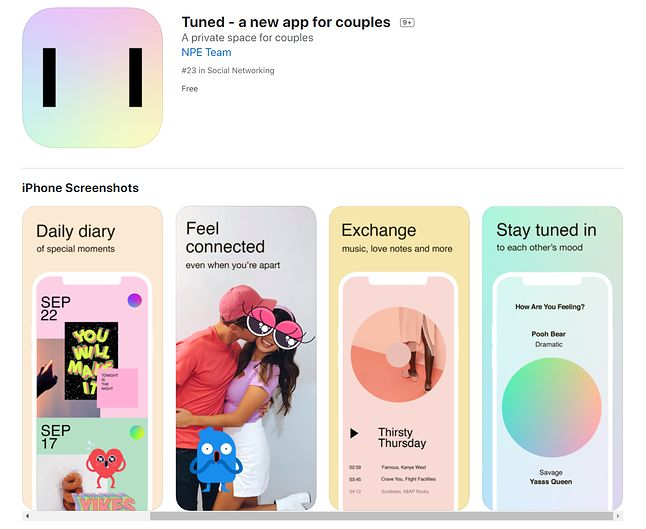 Tuned to nowa aplikacja dla par ceniących sobie aktywne życie w social mediach, źródło: App Store.