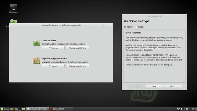 Za kopie zapasowe odpowiadają teraz dwa programy: jeden do plików użytkownika, drugi do migawek reszty systemu.