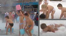 Tu dzieci biegają w kąpielówkach po śniegu i wylewają wiadra wody na głowę