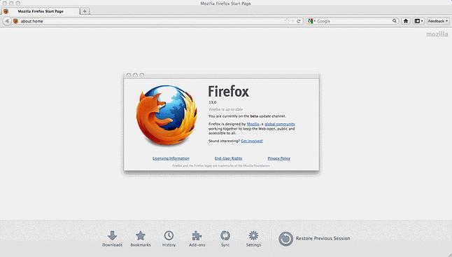 Firefox w wersji 13