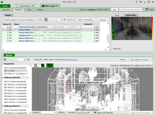 PIX: narzędzie do pracy z raytracingiem w DX12