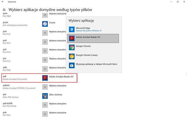 Ustawienia domyślnych aplikacji w Windows 10.