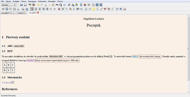 Wygląd tabeli i matematycznych działań. LyX pozwala na stworzenie zupełnie nowej matematyki.