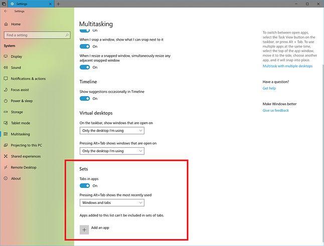 Nowe ustawienia kart Sets. Źródło: Windows Blogs.