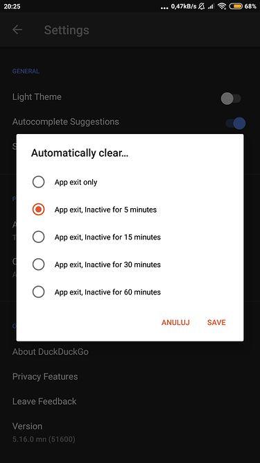 Automatyczne czyszczenie danych przeglądania w DuckDuckGo