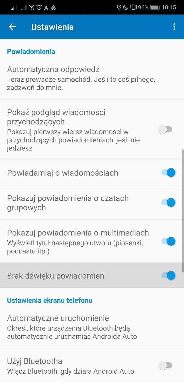 Ustawienia Androida Auto w smartfonie i nowa opcja wyciszania dźwięku powiadomień.