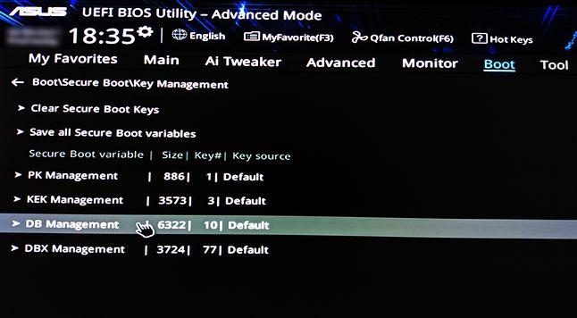 Zarządzanie kluczami UEFI (płyta główna Asus)