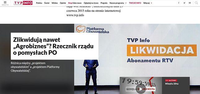 Tak wygląda strona TVP Info na większości przeglądarek