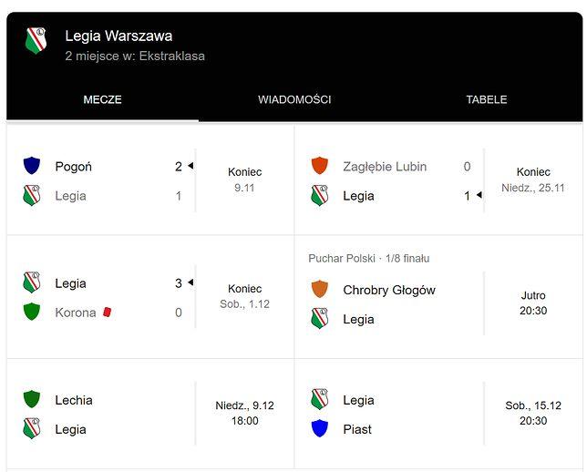 """Wyniku wyszukiwania hasła """"Legia Warszawa"""""""