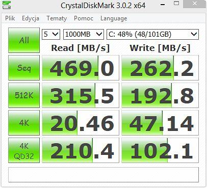Test CrystalDiskMark3_0_2f dysku ssd