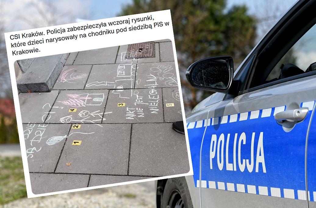 Dzieci rysowały kredą przed siedzibą PiS. Policja umorzyła śledztwo