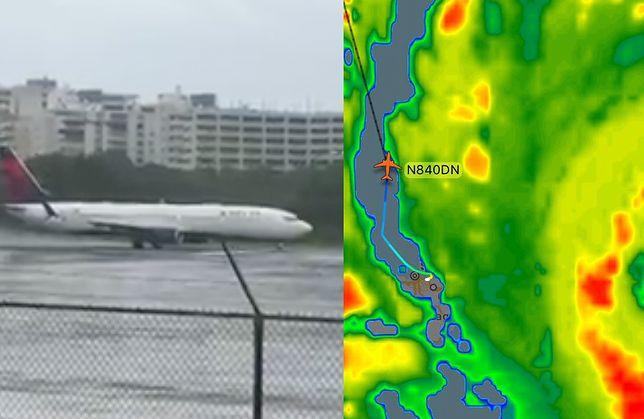 Odwaga czy głupota? Samolot ścigał się, by zdążyć przed huraganem Irma
