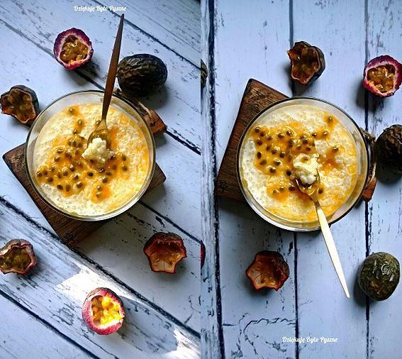Pudding z tapioki na mleku kokosowym z marakują