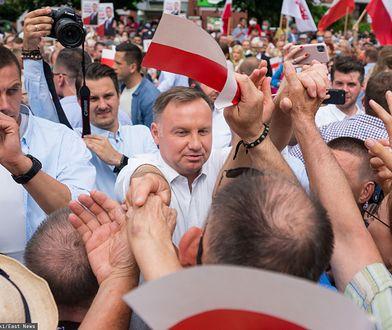 Wybory 2020. Prezydent Andrzej Duda na wiecu wyborczym.