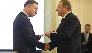 Prezydent Andrzej Duda i prezes Jacek Kurski.