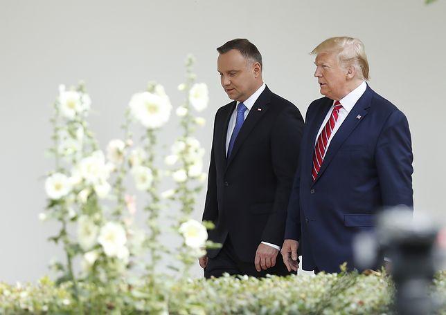 Andrzej Duda i Donald Trump rozmawiają w Białym Domu