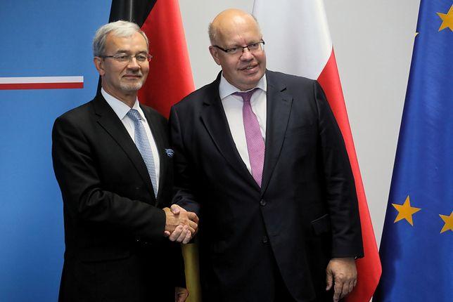 Minister inwestycji i rozwoju Jerzy Kwieciński i minister gospodarki i energetyki Niemiec Peter Altmaier podczas wspólnej konferencji prasowej