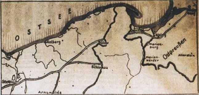 Fragment niemieckiej mapy przedstawiającej korytarz do Prus Wschodnich
