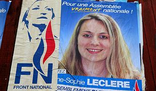 Plakat wyborczy skazanej Anne-Sophie Leclere