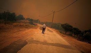 Brunatne niebo nad plażą w Portugalii. Przerażający efekt pożarów