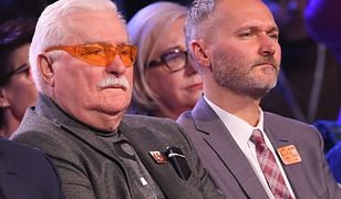 Lech Wałęsa i Jarosław Wałęsa na konwencji wyborczej Koalicji Obywatelskiej.