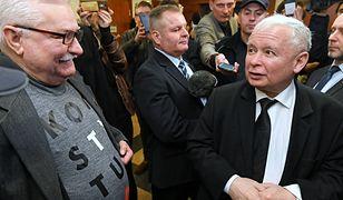 22 listopada 2018 roku. Lech Wałęsa i Jarosław Kaczyński w gmachu gdańskiego sądu.