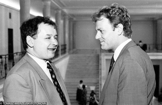 Jarosław Kaczyński i Donald Tusk w Sejmie, 1992 rok