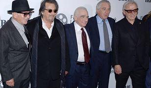 "Od lewej: Joe Pesci, Al Pacino, Martin Scorsese, Robert De Niro i Harvey Keitel na premierze ""Irlandczyka"" na NYFF"